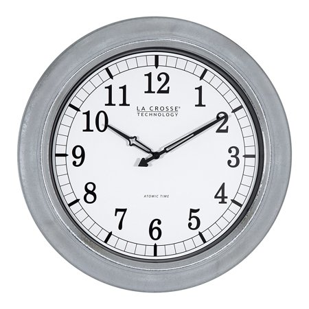 404-1246-Int 18 in. Galvanized in/Out Atomic Clock, Silver, Atomic self setting time with automatic daylight savings time Reset (on/off option) By La Crosse Technology