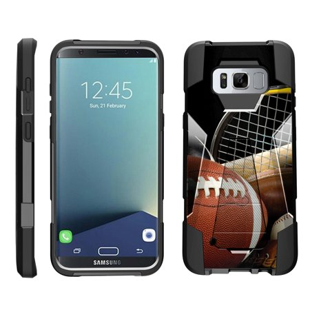 TurtleArmor ® | For Samsung Galaxy S8 Plus G955 / S8+ [Dynamic Shell] Dual Layer Hybrid Silicone Hard Shell Kickstand Case - Athletic Player](Athlete Prayer)