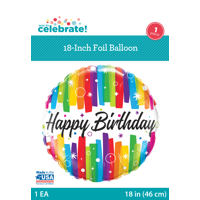 """Way To Celebrate 18"""" Birthday Colorful Band Foil Balloon"""