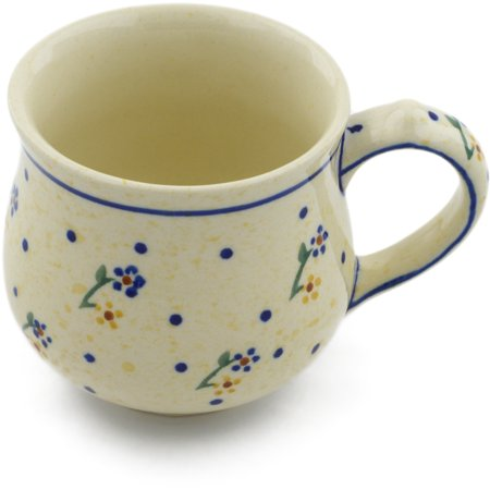 Polish Pottery 7 oz Bubble Mug (Country Meadow Theme) Hand Painted in Boleslawiec, Poland + Certificate of Authenticity