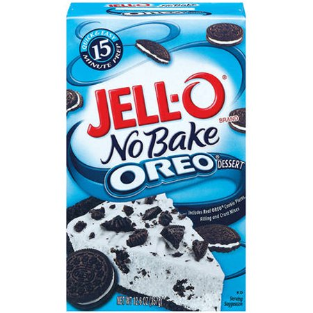Jell-O No Bake recipes take just 15 minutes to make and only require two ingredients beyond the contents of the box. To make this recipe, add 4 tablespoons of butter to the Oreo crust mix and press it firmly into a pie plate covering the bottom and sides evenly.