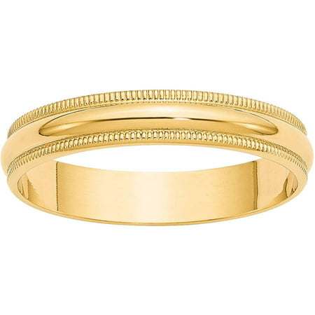 Primal Gold 14 Karat Yellow Gold 4mm Lightweight Milgrain Half Round Band Size 7