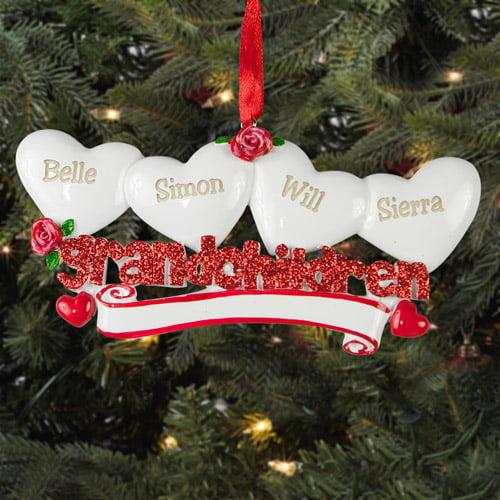 Personalized Grandchildren Christmas Ornament, 4 Hearts