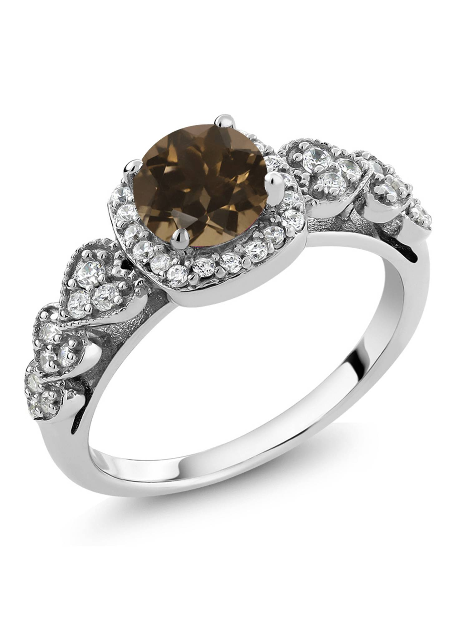 1.12 Ct Round Brown Smoky Quartz 925 Sterling Silver Ring