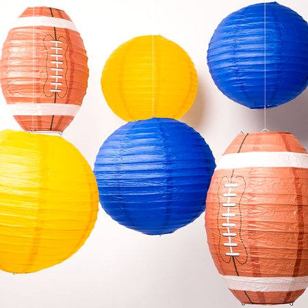 San Diego Pro Football Paper Lanterns 6pc Combo Tailgating Party Pack (Navy Blue/Yellow)  - by - San Diego 18+ Halloween Party