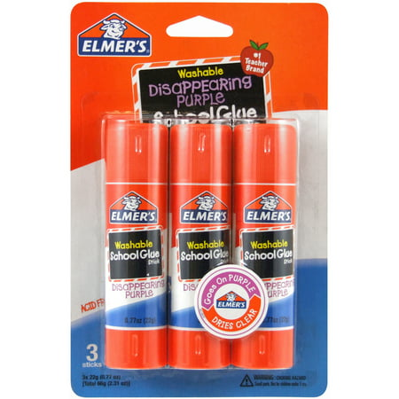 Elmer's Disappearing Purple Washable School Glue Sticks, 0.77 oz, 3 (Best Glue To Use On Paper)