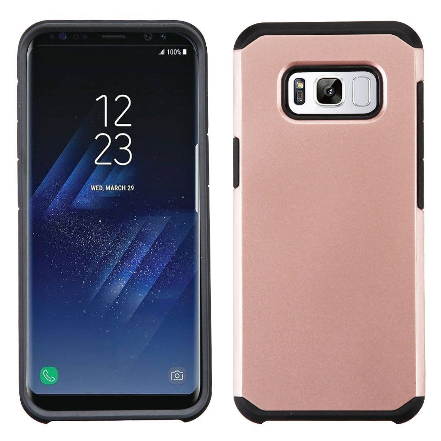 Samsung Galaxy S8+ Case, Samsung Galaxy S8 Plus Case, by Insten Dual Layer [Shock Absorbing] Hybrid Hard Plastic/Soft TPU Rubber Case Phone Cover For Samsung Galaxy S8 Plus S8+, Rose Gold/Black