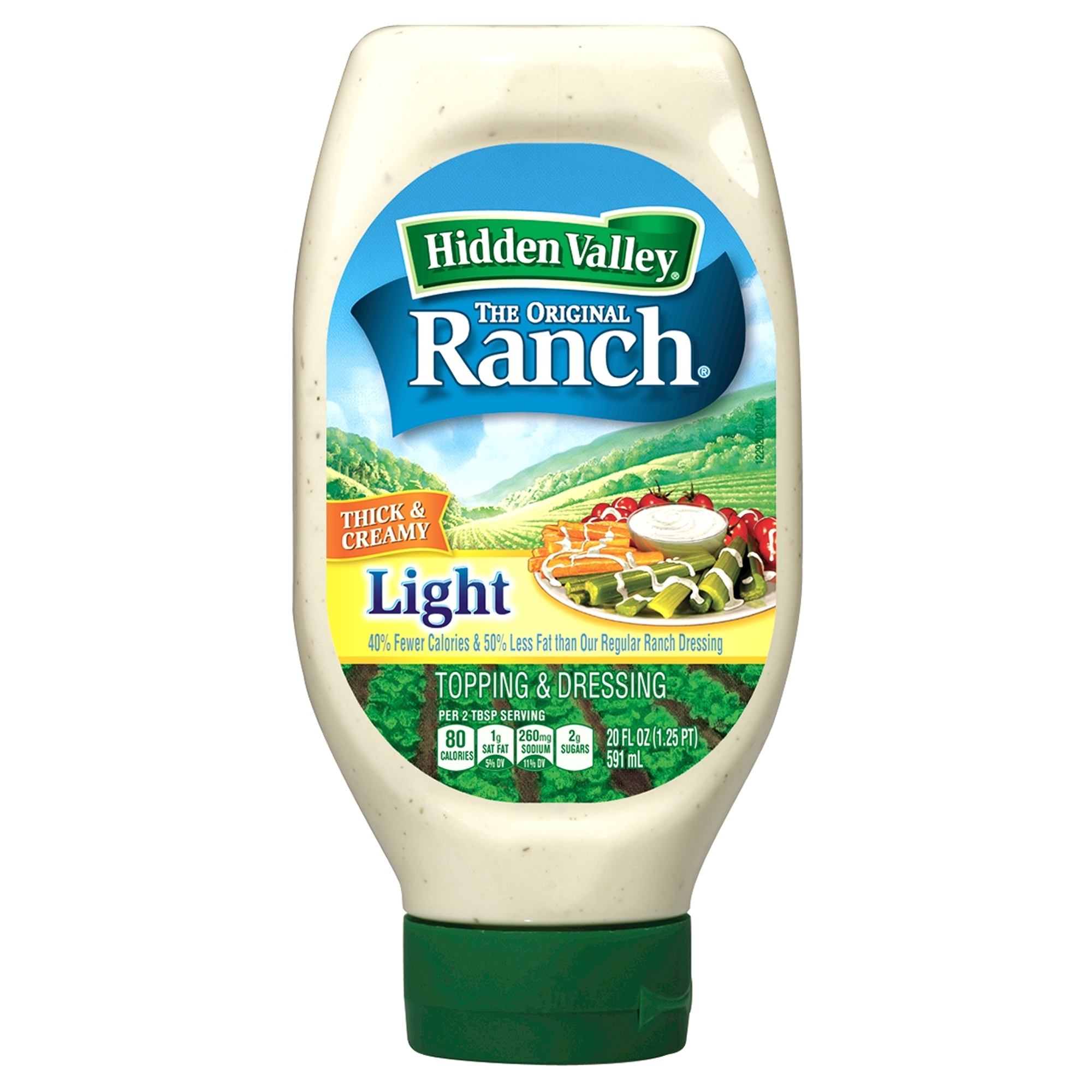 Hidden Valley Original Ranch Light Dressing, Easy Squeeze Bottle, 20 Fluid Ounces