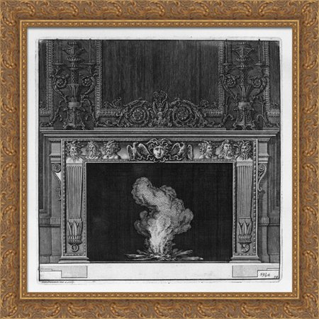 Medusa Head Piece (Fireplace: busts in the frieze of satyrs and the head of Medusa in the center between two eagles 28x28 Large Gold Ornate Wood Framed Canvas Art by Giovanni Battista)