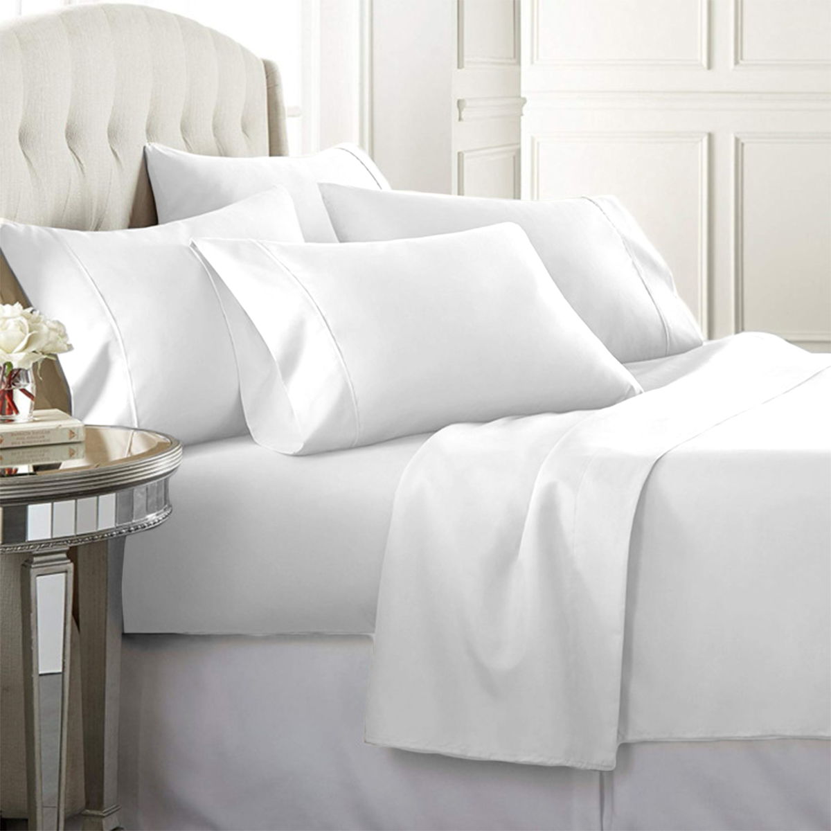 Luxury Home Super-Soft 1600 Series Double-Brushed 6 Pcs Bed Sheets Set (Queen, White)