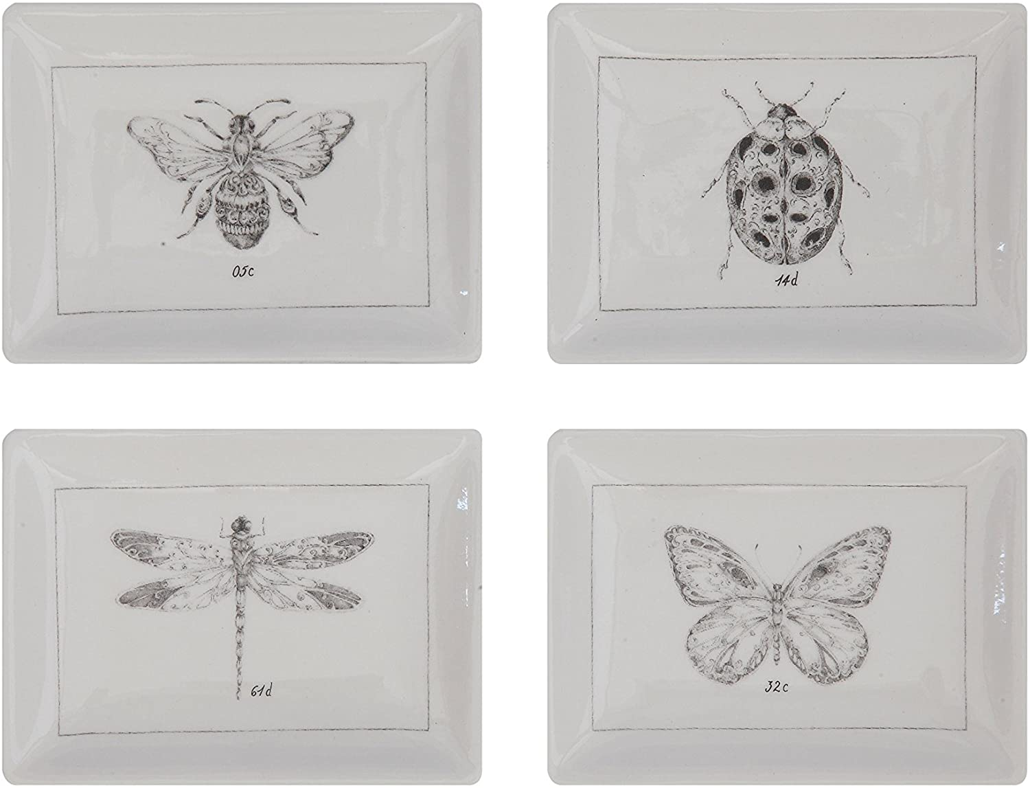 Creative Co-Op DA5737SET Set of 4 Rectangle White Ceramic Dishes with Insect Images