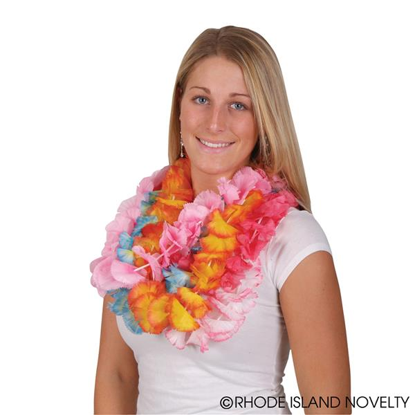 "Rinco Hawaiian Luau Summer Party Two Tone Fabric Leis, Assorted, 38"" L, 12 Pack"