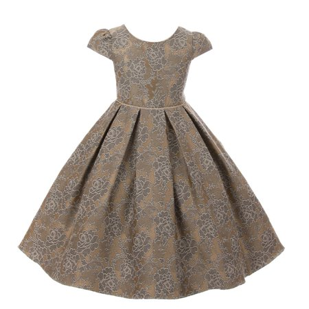 cc071e4c82651 Kids Dream Little Girls Champagne Chantilly Jacquard Pleated Occasion Dress