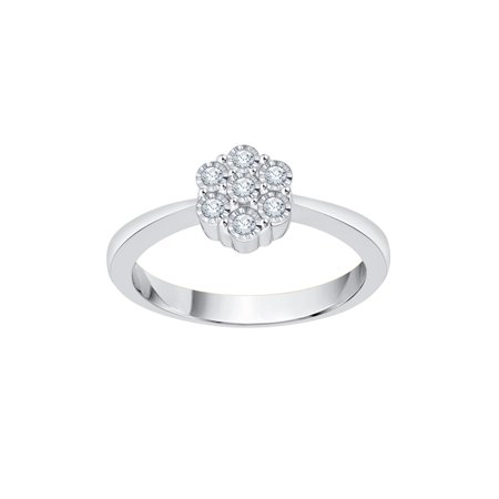 Diamond Floral Ring in 10K White Gold (1/10 cttw) (I-Color, SI3-I1 Clarity) (Size-5)