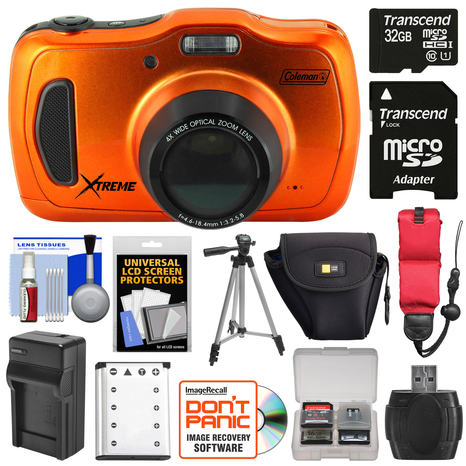 Coleman Xtreme4 C30WPZ Waterproof HD Digital Camera (Orange) with 32GB Card + Battery & Charger + Case + Tripod +... by Coleman