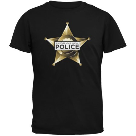 Support Your Local Police Star Badge Black Adult T-Shirt ()