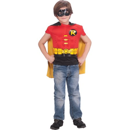 Child Teen Titans Robin Muscle Chest T-Shirt Mask Cape Costume Boys Small 4-6 - Robin Costume Mask