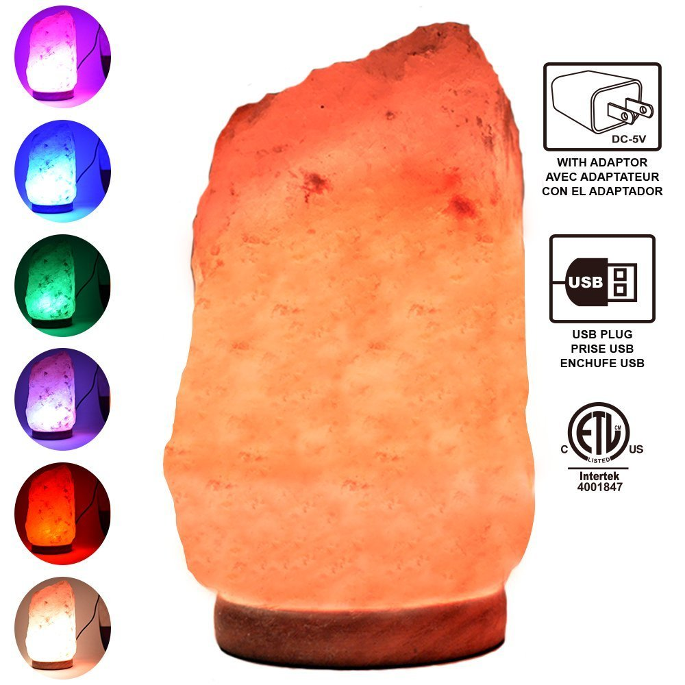 Himalayan Glow Multicolor USB Salt lamp (4-5lbs) with Wooden Base