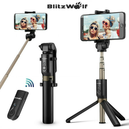 BlitzWolf BW-BS3 3in 1 Extendable Selfie Stick + Bluetooth Remote Control Shutter + Handheld Monopod Tripod Mount,Universal for 3.5