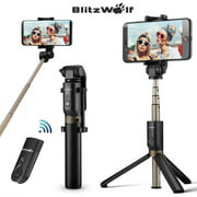 "BlitzWolf BW-BS3 3in 1 Extendable Selfie Stick + Bluetooth Remote Control Shutter + Handheld Monopod Tripod Mount,Universal for 3.5""-6"" Screen,for iPhone Samsung Galaxy Smartphone"