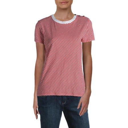 Lauren Ralph Lauren Womens Lanovya Striped Button-Detail T-Shirt