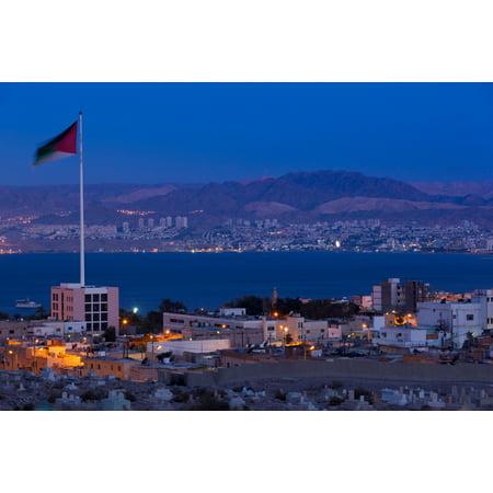 High angle view of Port of Aqaba and Flag of Jordan at sunrise Aqaba Jordan Poster Print by Panoramic Images