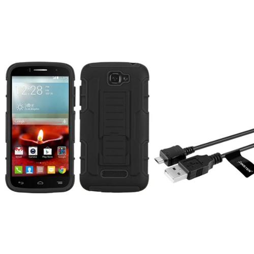 Insten Hard Dual Layer Phone Case w/stand For Alcatel One Touch Fierce 2 7040T - Black (+ Micro USB cable)