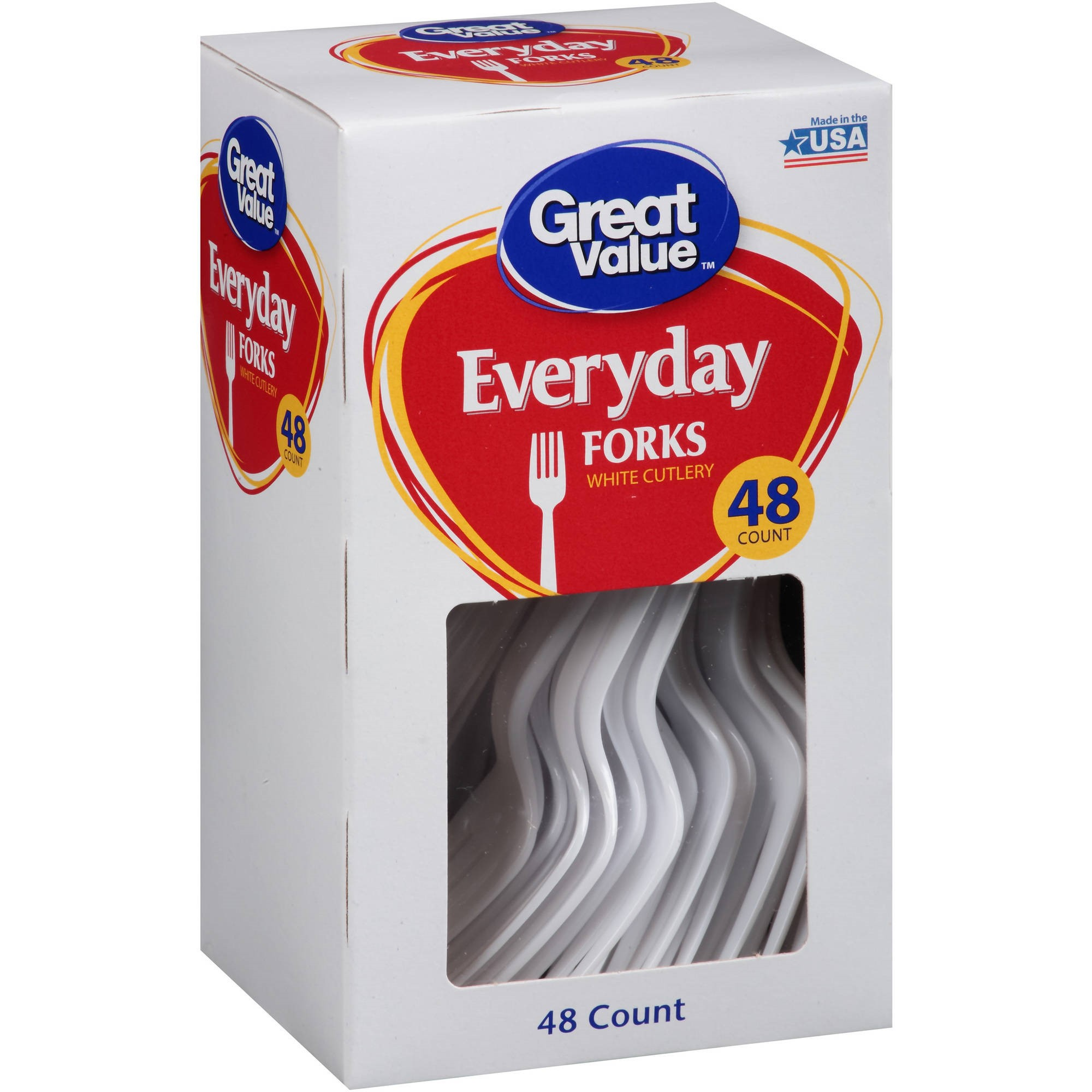 Great Value Everyday White Forks, 48 Count