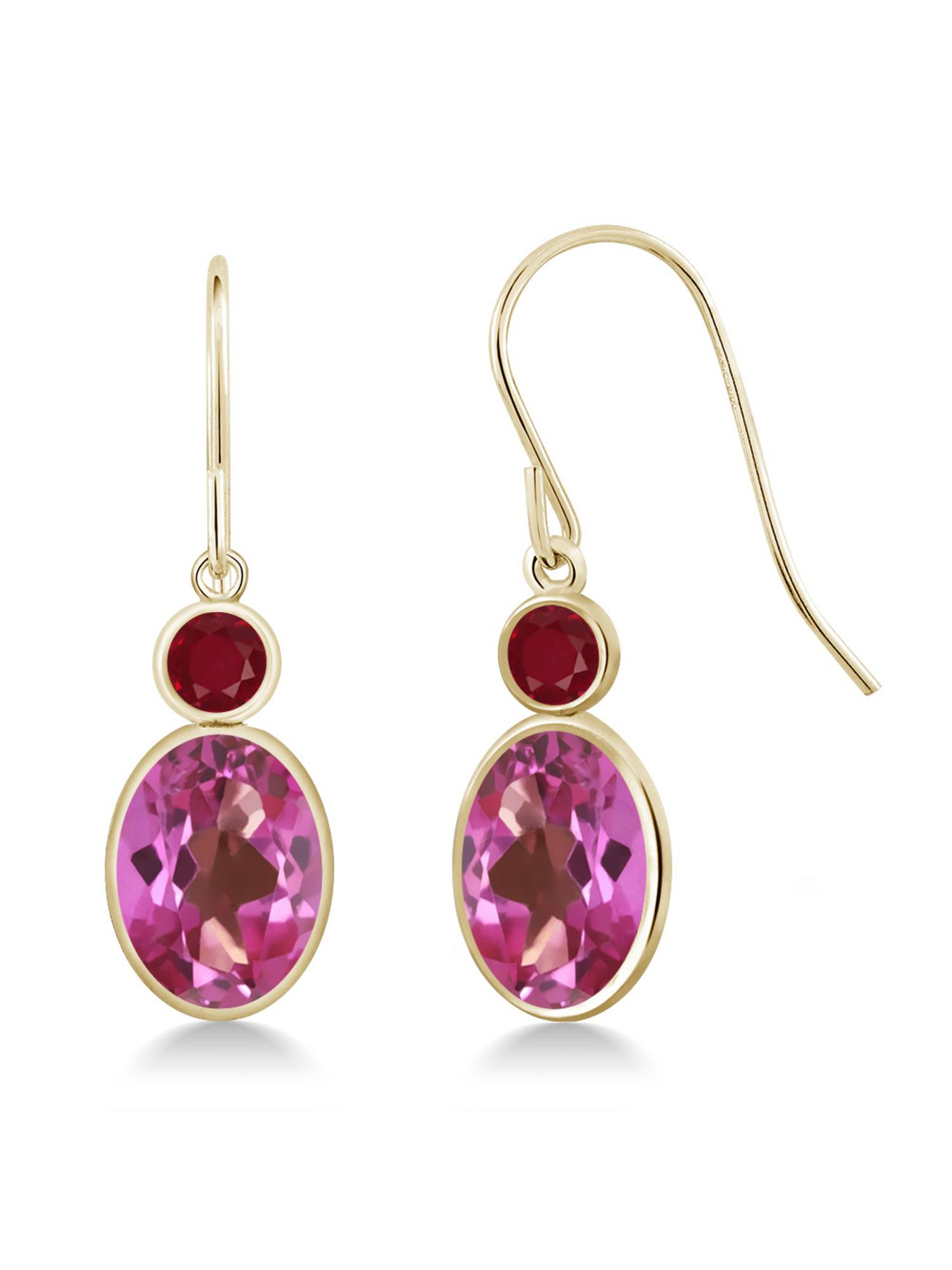 3.28 Ct Oval Pink Mystic Topaz Red Ruby 14K Yellow Gold Earrings by