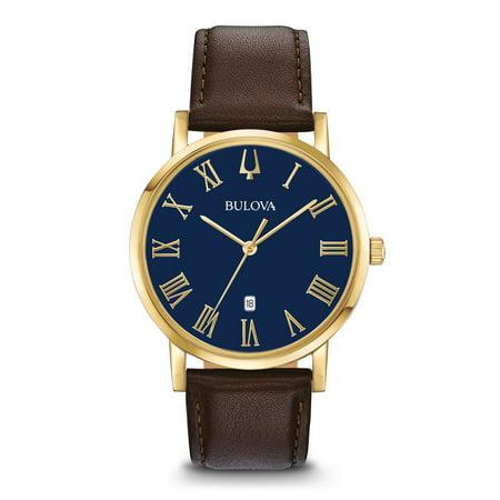Bulova Men's Leather Watch 97B177