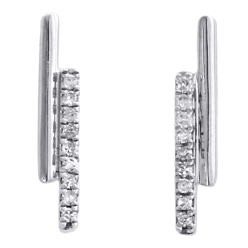 10K White Gold Round Diamond Double Bar Studs Ladies Screw Back Earrings 1/12 Ct