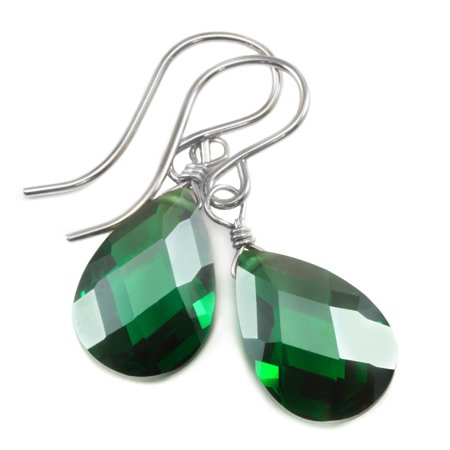 Cubic Zirconia Earrings Simulated Green Emerald Faceted Pear Shaped CZ Teardrops Sterling Silver Spyglass Designs