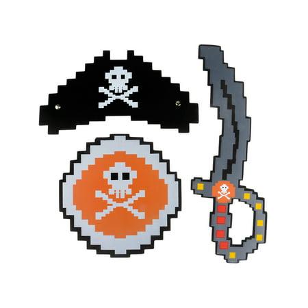 Kid's 3 Piece Foam High Seas Pixel Pirate Captain Costume Accessory Set](Halloween Pixel Art)