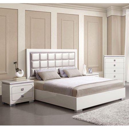 Pearl White High Gloss Queen Bedroom Set 3Pcs Acme Furniture 20250Q Valentina ()
