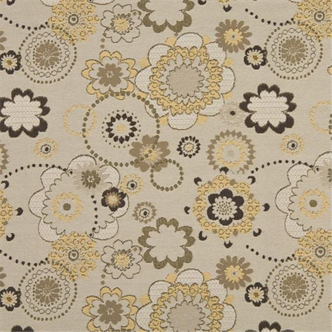 Designer Fabrics K0132A 54 in. Wide Gold, Gray And Tan Floral Woven Solution Dyed Indoor & Outdoor Upholstery Fabric