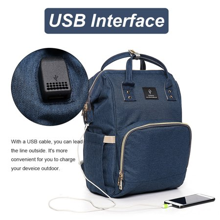 Backpack Diaper Bag with USB Interface Large Baby Diaper Nappy Multifunctional Bagpack Shoulder Bags Outdoor Waterproof - image 2 de 9