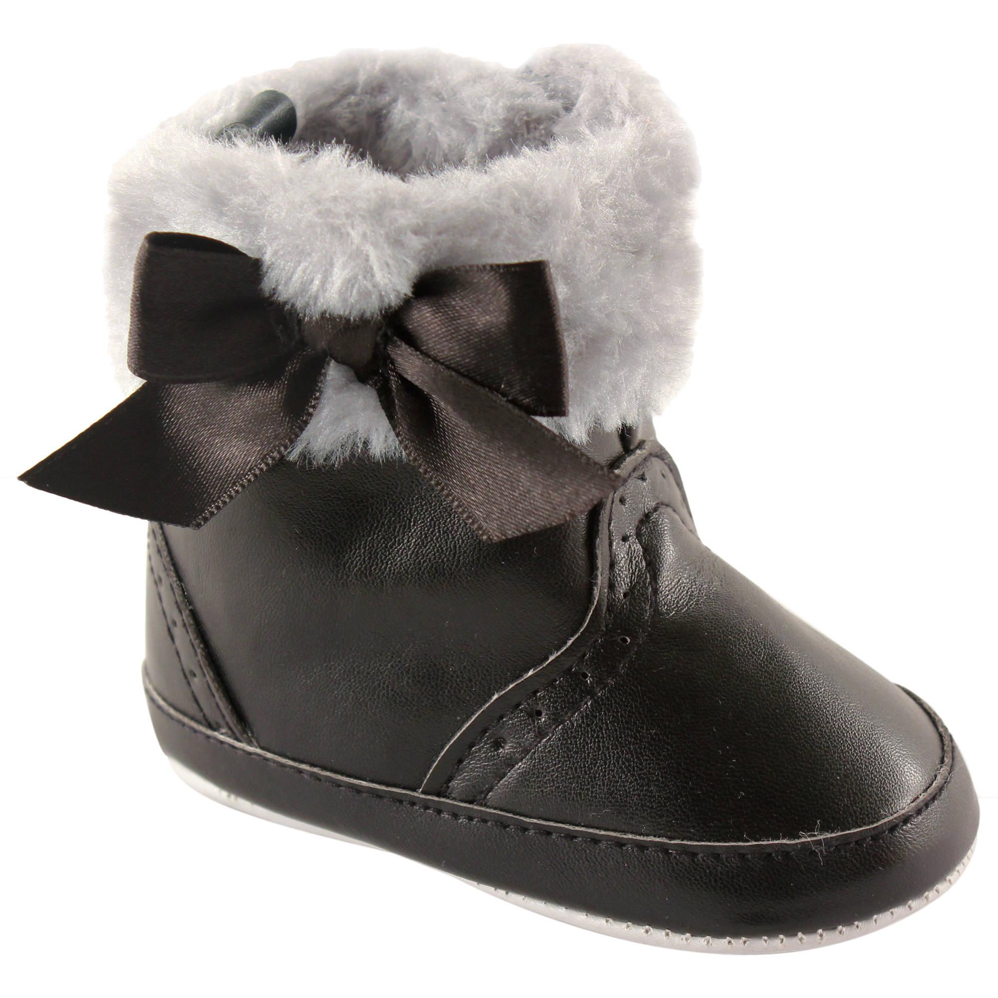 Luvable Friends Newborn Baby Girls Fur Trim Boots