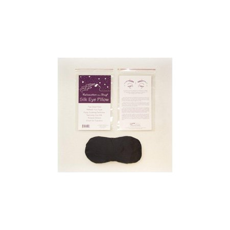 black contoured silk eye pillow filled with flax seed from relaxation in a bag