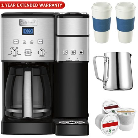 Electric With Timer Coffee Maker - Cuisinart SS-15 12-Cup Coffee Maker and Single-Serve Brewer, Stainless w/K Cups, Carafe, To Go Cups and Extended Warranty