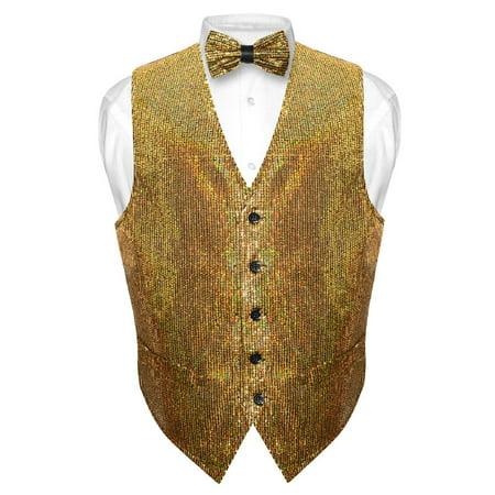 Men's SEQUIN Design Dress Vest & Bow Tie GOLD Color BOWTie Set for Suit Tux