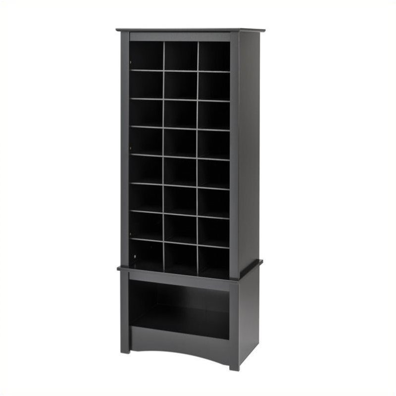 Bowery Hill Tall 24 Cubby Shoe Cabinet in Black