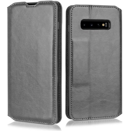 "for 6.1"" Samsung Galaxy S10 Lite Deluxe PU Leather Foldable Kickstand Hybrid Pouch Pocket ID and Credit Card Slot Shockproof Flip Bumper Magnetic Wallet Phone Case [Black]"