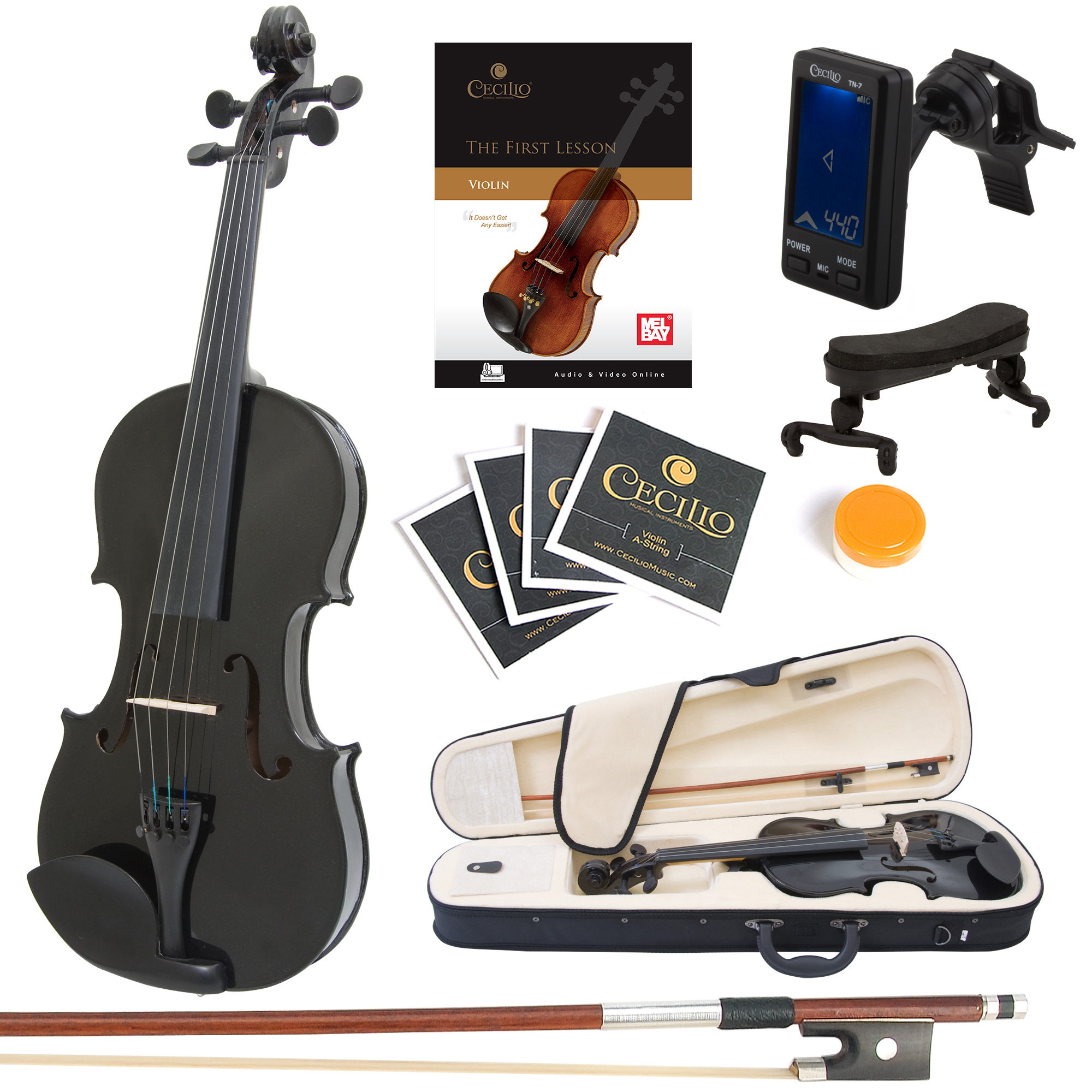 Mendini Full Size 4 4 MV-Black Solid Wood Violin w Tuner, Lesson Book, Shoulder Rest,... by Cecilio Musical Instruments
