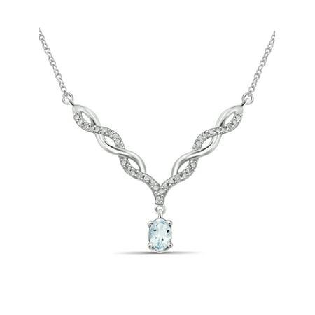 0.44 Carat T.G.W. Aquamarine Gemstone and Accent White Diamond Women