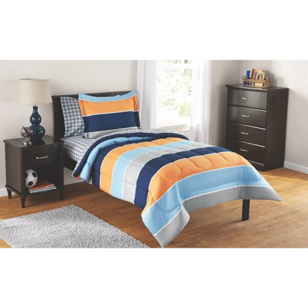 mainstays kids rugby stripe bed in a bag complete bedding set. Black Bedroom Furniture Sets. Home Design Ideas