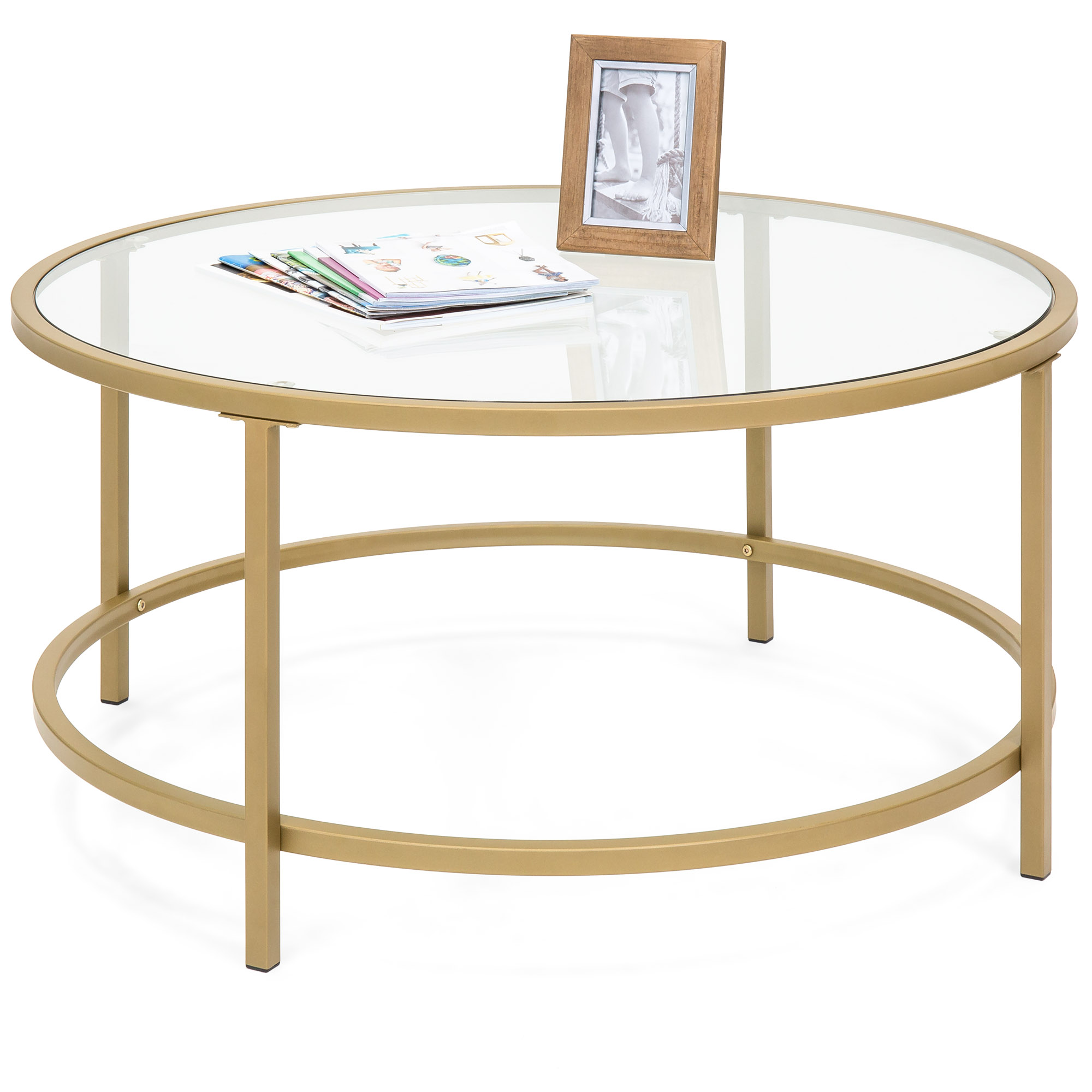 Best Choice Products 36in Round Tempered Glass Coffee Table w/ Satin Gold Trim for Home, Living Room, Dining Room