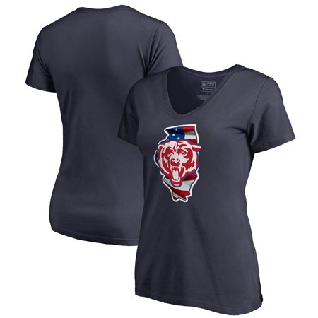 Chicago State Street (Chicago Bears NFL Pro Line by Fanatics Branded Women's Plus Size Banner State V-Neck T-Shirt - Navy )