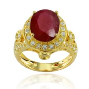 De Buman  Gold Over Silver Ruby and Cubic Zirconia Ring