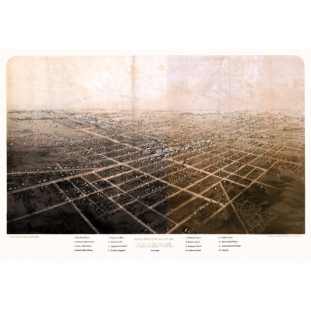 Antique Map of Jackson Michigan 1868 Jackson County Stretched Canvas -  (24 x 36)