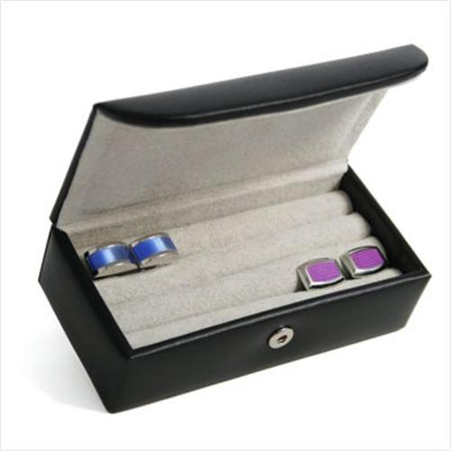 Royce Leather 944-8 Mini Cufflink Box Black